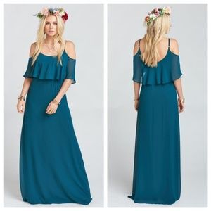 Show Me Your Mumu Caitlin Jade Teal Ruffle Dress